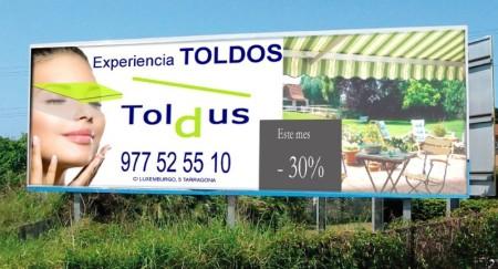 valla de publicidad de Toldus